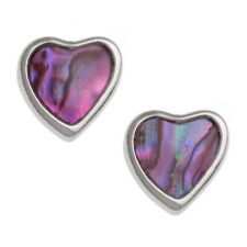 Pink Abalone /  Paua Shell Love Heart Silver Stud Earrings