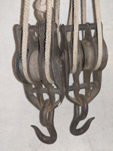 """Antique Metal Pulley 11"""" long triple wheel set of 2 Block and tackle"""