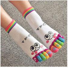 FD1168 Smile face Rainbow Women Girls Five Finger Toe Cotton Socks Random 1 Pair
