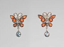 9927240 925 argent koralle-blautopas-ohrringe style antique papillon