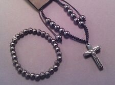 Christian Prayer Bracelet Set Black Hematite Beads & Crucifix Macrame Weave GIFT
