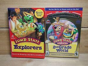 Kids PC Game Lot Jump Start Explorers & Advanced 2nd Grade World Premium Edition