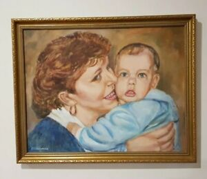 """Framed Vintage Oil Painting Of """"Mother & Child"""" By Artist """"A.S Williamson"""""""