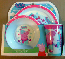 Official Product Peppa Pig 3pc Dinner Tableware Set Bowl Plate Cup Design