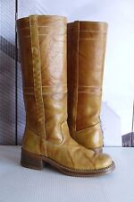 Vintage Women's LYNN Marbled Leather Campus Pull On Biker Boots SIZE US 7