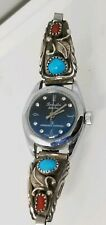 Rare Ladies Sterling Silver Indian Torquiose Diamond Faced Remington Watch Read