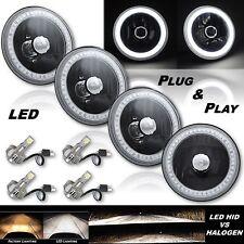 """5-3/4"""" White SMD LED Halo Angel Eye Black Headlight w/ 6k LED Light Bulb Set - 4"""