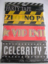 HOLLYWOOD PARTY TAPE 3 PIECE SET,CELEBRITY,VIP,PAPPARAZZI