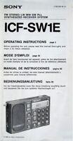 SONY ICF-SW1 RADIO ORIGINAL OPERATING INSTRUCTIONS