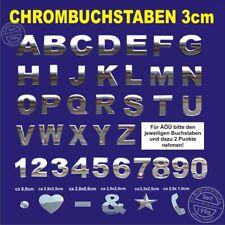 5 Stück 3D Chrombuchstaben zum aufkleben 3 cm - 5 Zeichen, z.B. BULLI oder BEACH