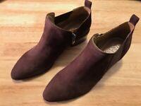 Franco Sarto Arden Leather Block Heel Shooties Shoe Boots Women's 7 M Brown 7M ~