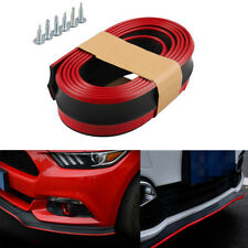 8FT Car Front Bumper Valance Chin Lip Guard Spoiler Skirt Protector Red Trim