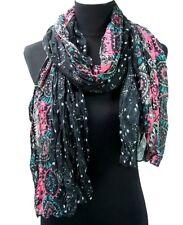 Pañuelo mujer bufanda Reunido Estola Floral estrellas negro viscosa 120x75cm