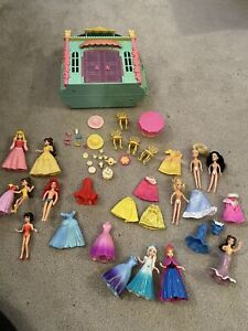 Bundle of Disney Princess Magic Clip Dolls tea room and accessories