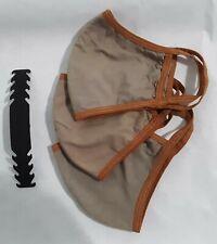 3 pack Khaki Face Mask Extra Large XL Adult Unisex Cotton Washable w/strap