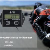 Motorcycle Gas Engine Hour Meter Gauge Tachometer Induction Counter LCD Display