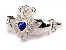 Sterling Silver Irish made September birthstone claddagh ring all size available