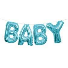 Baby Shower Party  Blue Foil Letters Airfill Hanging Banner Balloons 14 inch