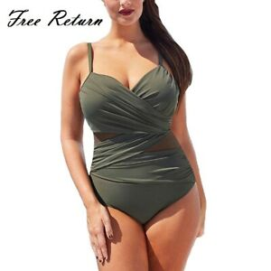 2021 New Sexy One Piece Plus Size Swimsuit Women Mesh Patchwork Bathing Suits Vi