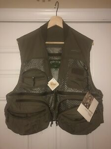 Orvis Fly Fishing Pro Guide Men's Vest Medium  Olive Green NEW WITH TAGS