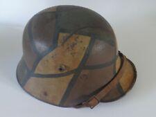 More details for ww1 cammo german steel helmet. with liner, battle damaged.