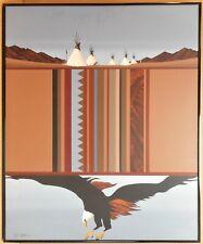 Bald Eagle & Tipis. Original acrylic by listed USA artist Kim Fox Means c1990