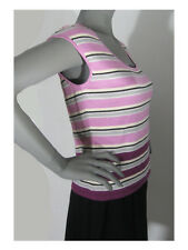 NWOT The Limited Size: Large Silk Blend Knit Pink Gray Burgundy Stripe Shell Top