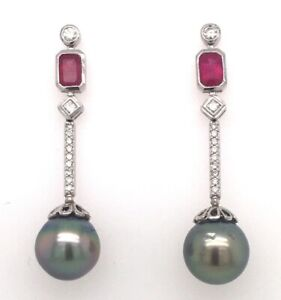Tahiti Pearl Earrings with Ruby and Diamonds white gold 18kt