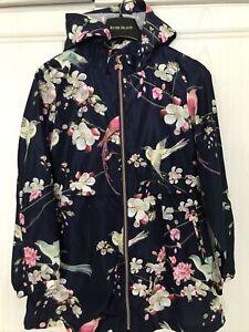 Girls TED BAKER Rain Coat Jacket Navy Floral Age 10 Yrs