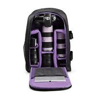 Waterproof Backpack Shoulder Bag Case For DSLR SLR Canon Nikon Camera Purple