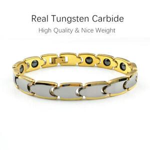 10MM Gold/Silver Mens Tungsten Carbide Bracelet Health Energy Bangle Cuban Chain