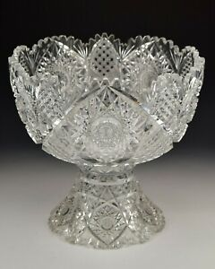 Large American Brilliant Period Cut Glass Punch Bowl and Stand 14""