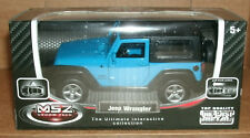 1/42 Scale Jeep Wrangler Sport Diecast Model Blue JK Hard Top Roof 4x4 Off Road