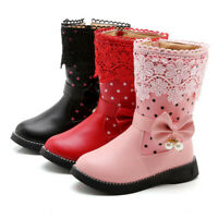 UK Kids Children Girls Butterfly Knot Boots Fashion Floral Princess Shoes Boots