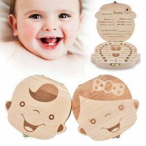 Wooden Baby Tooth Box Fetal Hair Milk Teeth Organizer Box Baby Growth Record