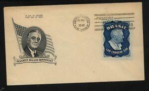 Brazil  nice  Roosevelt  cachet cover  1949  large stamp     MS0126