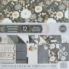 "Craft Smith NATURAL LUXURY Paper Pad 12 DOUBLE-SIDED Sheets 12"" x 12"" Scrapbook"