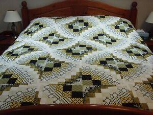 """Handmade Patchwork Bargello Quilt  / Throw - 86"""" x 86"""""""