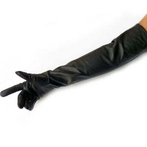 women 58cm 22.8 inch  opera real sheep leather  long gloves black