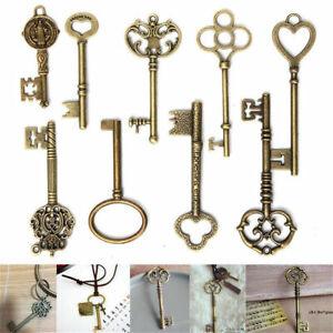 9PCS/set Large Vintage Antique Bronze Skeleton Keys Cabinet Barrel Old Lock
