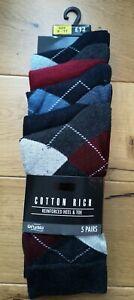 Men's 5 pairs Next Grey/Navy argyle Patterned Socks Size 9-11
