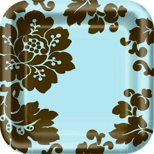 """Damask Floral Pattern Flower Garden Theme Party 9"""" Square Paper Dinner Plates"""