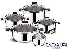 Lagostina Batteria di Pentole Tempra 9 Pz in Acciaio Inox - Cookware Set Italy