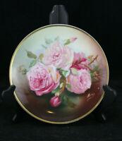 Antique Thomas Sevres BAVARIA Hand Painted Porcelain Plate Bourbon Rose - Signed