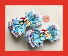 Girls/toddlers Handmade  Bluey / Christmas / Blue / White Large Hair Bow Clip