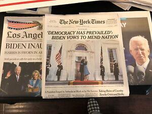 Lot New York Times USA Today Los Angeles Biden Harris Inauguration January 21