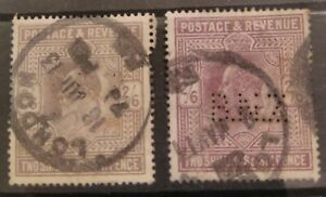 GB 1902-5 KEVII 2/6 , two different shades with BNZ perfins, $10 start!