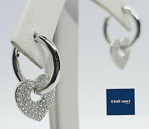 Orecchini donna in argento 925 Cerchio con cuore zirconi bianchi