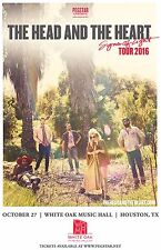 """HEAD AND THE HEART """"SIGNS OF LIGHT TOUR 2016"""" HOUSTON CONCERT POSTER- Folk Music"""