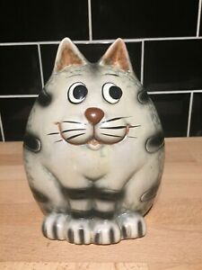 Grey Striped Cat Ceramic Collectable Novelty Money Box